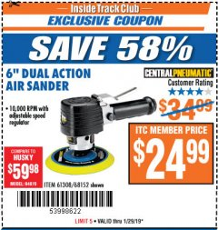 "Harbor Freight ITC Coupon 6"" DUAL ACTION AIR SANDER Lot No. 68152/61308 Expired: 1/29/19 - $24.99"