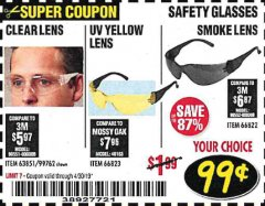 Harbor Freight Coupon SAFETY GLASSES Lot No. 66822/66823/63851/99762 Expired: 4/30/19 - $0.99