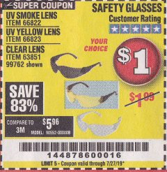 Harbor Freight Coupon SAFETY GLASSES Lot No. 66822/66823/63851/99762 Expired: 7/27/19 - $0.01