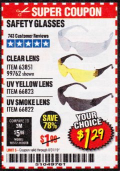 Harbor Freight Coupon SAFETY GLASSES Lot No. 66822/66823/63851/99762 Expired: 8/31/19 - $1.29