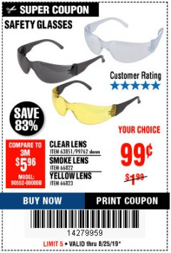 Harbor Freight Coupon SAFETY GLASSES Lot No. 66822/66823/63851/99762 Expired: 8/25/19 - $0.99