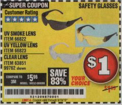 Harbor Freight Coupon SAFETY GLASSES Lot No. 66822/66823/63851/99762 Expired: 9/19/19 - $1