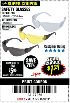 Harbor Freight Coupon SAFETY GLASSES Lot No. 66822/66823/63851/99762 Expired: 11/30/19 - $1.29