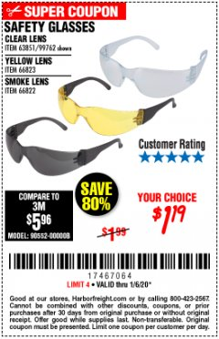 Harbor Freight Coupon SAFETY GLASSES Lot No. 66822/66823/63851/99762 Expired: 1/6/20 - $1.19