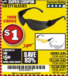 Harbor Freight Coupon SAFETY GLASSES Lot No. 66822/66823/63851/99762 EXPIRES: 6/30/20 - $0.01