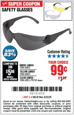 Harbor Freight Coupon SAFETY GLASSES Lot No. 66822/66823/63851/99762 Expired: 3/22/20 - $0.99