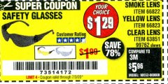 Harbor Freight Coupon SAFETY GLASSES Lot No. 66822/66823/63851/99762 Expired: 7/3/20 - $1.29