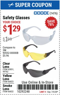 Harbor Freight Coupon SAFETY GLASSES Lot No. 66822/66823/63851/99762 Expired: 7/5/20 - $1.29