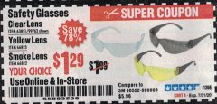 Harbor Freight Coupon SAFETY GLASSES Lot No. 66822/66823/63851/99762 Expired: 7/31/20 - $1.29