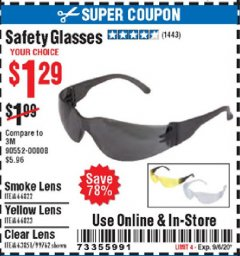Harbor Freight Coupon SAFETY GLASSES Lot No. 66822/66823/63851/99762 Expired: 9/6/20 - $1.29