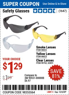 Harbor Freight Coupon SAFETY GLASSES Lot No. 66822/66823/63851/99762 Valid Thru: 12/3/20 - $1.29