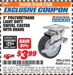 "Harbor Freight ITC Coupon 3"" POLYURETHANE SWIVEL CASTER WITH BRAKE Lot No. 61854/96408 Dates Valid: 5/3/19 - 5/31/19 - $3.99"