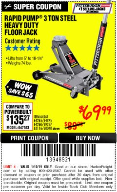 Harbor Freight ITC Coupon RAPID PUMP 3 TON STEEL HEAVY DUTY FLOOR JACK Lot No. 64261/64265/64875/64260/69227/62584/62116/68048 Expired: 1/10/19 - $69.99