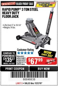 Harbor Freight Coupon RAPID PUMP 3 TON STEEL HEAVY DUTY FLOOR JACK Lot No. 64261/64265/64875/64260/69227/62584/62116/68048 Expired: 12/2/18 - $67.99