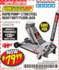 Harbor Freight Coupon RAPID PUMP 3 TON STEEL HEAVY DUTY FLOOR JACK Lot No. 64261/64265/64875/64260/69227/62584/62116/68048 Expired: 2/28/19 - $79.99