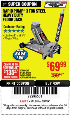 Harbor Freight Coupon RAPID PUMP 3 TON STEEL HEAVY DUTY FLOOR JACK Lot No. 64261/64265/64875/64260/69227/62584/62116/68048 Expired: 3/17/19 - $69.99