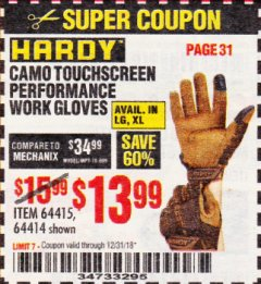 Harbor Freight Coupon HARDY CAMO TOUCHSCREEN PERFORMANCE WORK GLOVES Lot No. 64415/64414 Expired: 12/31/18 - $13.99
