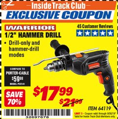 "Harbor Freight ITC Coupon WARRIOR 1/2"" HAMMER DRILL Lot No. 64119 Expired: 9/30/19 - $17.99"