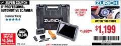 Harbor Freight Coupon ZURICH ZR-PRO PROFESSIONAL AUTO SCANNER Lot No. 64576 EXPIRES: 5/19/19 - $11.99