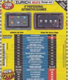 Harbor Freight Coupon ZURICH ZR-PRO PROFESSIONAL AUTO SCANNER Lot No. 64576 Expired: 7/31/19 - $1299.99