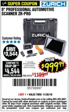 Harbor Freight Coupon ZURICH ZR-PRO PROFESSIONAL AUTO SCANNER Lot No. 64576 Expired: 11/30/19 - $999.99