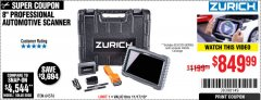 Harbor Freight Coupon ZURICH ZR-PRO PROFESSIONAL AUTO SCANNER Lot No. 64576 Expired: 11/17/19 - $849.99
