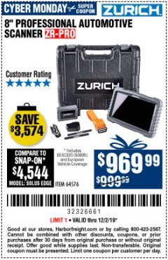 Harbor Freight Coupon ZURICH ZR-PRO PROFESSIONAL AUTO SCANNER Lot No. 64576 Expired: 12/1/19 - $969.99