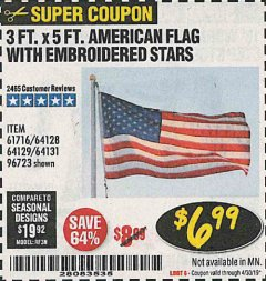 Harbor Freight Coupon 3 FT. X 5 FT. AMERICAN FLAG WITH EMBROIDERED STARS Lot No. 61716/96723/64128/64129/64131 Expired: 4/30/19 - $6.99