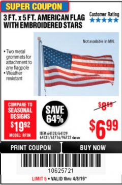 Harbor Freight Coupon 3 FT. X 5 FT. AMERICAN FLAG WITH EMBROIDERED STARS Lot No. 61716/96723/64128/64129/64131 Expired: 4/8/19 - $6.99