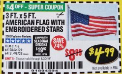 Harbor Freight Coupon 3 FT. X 5 FT. AMERICAN FLAG WITH EMBROIDERED STARS Lot No. 61716/96723/64128/64129/64131 Expired: 6/30/19 - $4.99