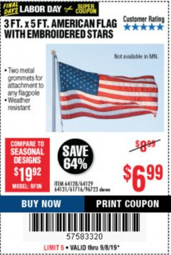 Harbor Freight Coupon 3 FT. X 5 FT. AMERICAN FLAG WITH EMBROIDERED STARS Lot No. 61716/96723/64128/64129/64131 Expired: 9/8/19 - $6.99