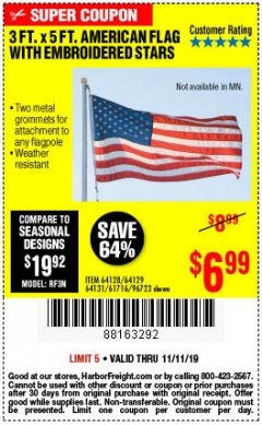 Harbor Freight Coupon 3 FT. X 5 FT. AMERICAN FLAG WITH EMBROIDERED STARS Lot No. 61716/96723/64128/64129/64131 Expired: 11/11/19 - $6.99