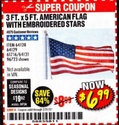 Harbor Freight Coupon 3 FT. X 5 FT. AMERICAN FLAG WITH EMBROIDERED STARS Lot No. 61716/96723/64128/64129/64131 Expired: 3/31/20 - $6.99