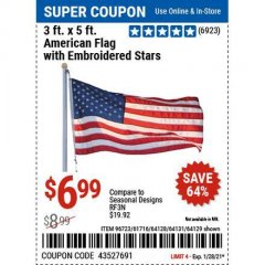 Harbor Freight Coupon 3 FT. X 5 FT. AMERICAN FLAG WITH EMBROIDERED STARS Lot No. 61716/96723/64128/64129/64131 Valid Thru: 1/28/21 - $6.99