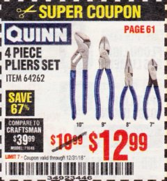 Harbor Freight Coupon QUINN 4 PIECE PLIERS SET Lot No. 64262 Expired: 12/31/18 - $12.99