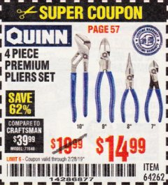 Harbor Freight Coupon QUINN 4 PIECE PLIERS SET Lot No. 64262 Valid Thru: 2/28/19 - $14.99
