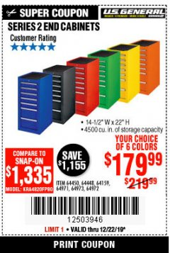 "Harbor Freight Coupon 14-1/2"" END CABINETS Lot No. 64358/64159/64447/64448/64449/64450 Expired: 12/22/19 - $179.99"
