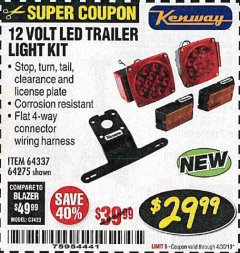 Harbor Freight Coupon 12 VOLT LED TRAILER LIGHT KIT Lot No. 64337/64275 Expired: 4/30/19 - $29.99