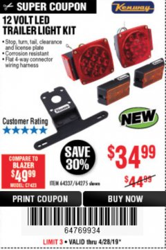 Harbor Freight Coupon 12 VOLT LED TRAILER LIGHT KIT Lot No. 64337/64275 Expired: 4/28/19 - $34.99