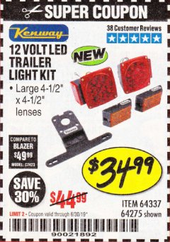 Harbor Freight Coupon 12 VOLT LED TRAILER LIGHT KIT Lot No. 64337/64275 Expired: 6/30/19 - $34.99