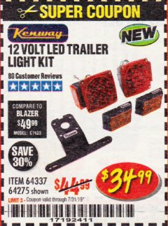 Harbor Freight Coupon 12 VOLT LED TRAILER LIGHT KIT Lot No. 64337/64275 Expired: 7/31/19 - $34.99