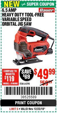 Harbor Freight Coupon BAUER 6.5 AMP HEAVY DUTY TOOL-FREE VARIABLE SPEED ORBITAL JIG SAW Lot No. 64290 Expired: 12/23/18 - $49.99