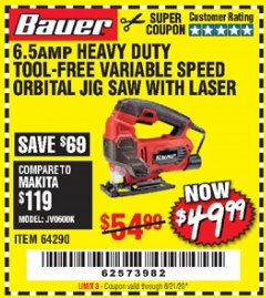 Harbor Freight Coupon BAUER 6.5 AMP HEAVY DUTY TOOL-FREE VARIABLE SPEED ORBITAL JIG SAW Lot No. 64290 Valid Thru: 6/21/20 - $49.99