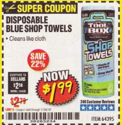 Harbor Freight Coupon DISPOSABLE BLUE SHOP TOWELS Lot No. 64395 Valid Thru: 11/30/19 - $1.99