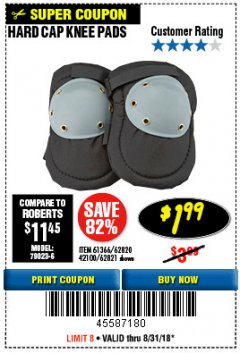 Harbor Freight Coupon HARD CAP KNEE PADS Lot No. 61366/42100 Expired: 8/31/18 - $1.99