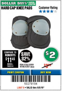 Harbor Freight Coupon HARD CAP KNEE PADS Lot No. 61366/42100 Expired: 8/5/18 - $2