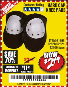 Harbor Freight Coupon HARD CAP KNEE PADS Lot No. 61366/42100 Expired: 2/16/19 - $2.49