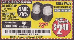 Harbor Freight Coupon HARD CAP KNEE PADS Lot No. 61366/42100 Expired: 8/10/19 - $2.49