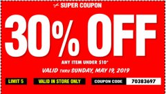 Harbor Freight Coupon 30 percent off coupon expires: 5/19/19