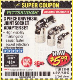 Harbor Freight Coupon 3 PIECE UNIVERSAL JOINT SOCKET ADAPTER SET Lot No. 63141/61955 Expired: 11/30/19 - $5.99